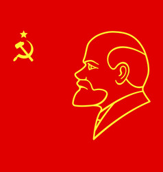 Lenin on red flag vector