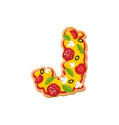 letter j pizza font italian meal alphabet vector image