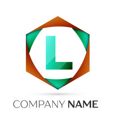 Letter l symbol in the colorful hexagonal vector