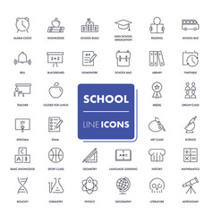 line icons set school pack vector image