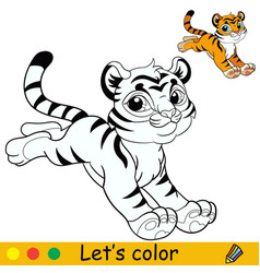 Little jumping tiger coloring with colorful vector