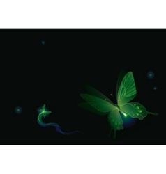 Luminous butterflies in darkness vector