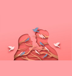 man and woman couple with papercut bird tree vector image
