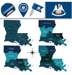 Map of louisiana with regions vector