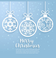 Merry christmas ball paper cut art vector