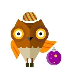 Owl with Christmas Ball Isolated Cartoon Bird vector image