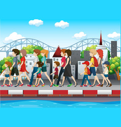 People walking on pavement in city vector