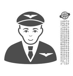 Pilot Icon With Bonus vector