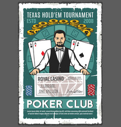 Poker club retro poster of croupier and win check vector