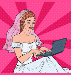 Pop art bride with laptop woman in wedding dress vector