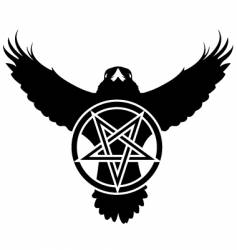 Raven crow pentagram star vector