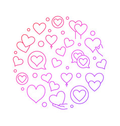 Red hearts circular thin line vector