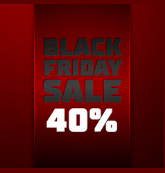 Red ribbon with black friday sale forty percent vector