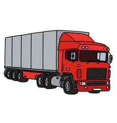 Red semitrailer truck vector