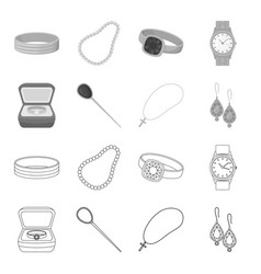 ring in a case hair clip earrings with stones a vector image