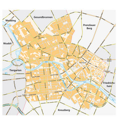 road map berlin mitte district germany vector image