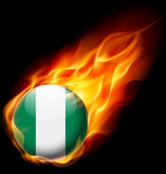 Round glossy icon of nigeria vector