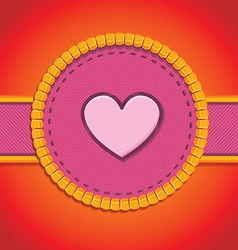 Round patch with heart vector