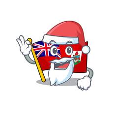 Santa claus flag bermuda cartoon on pole vector