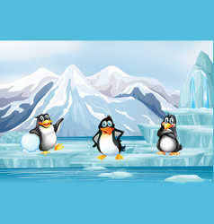 Scene with three penguins on ice vector