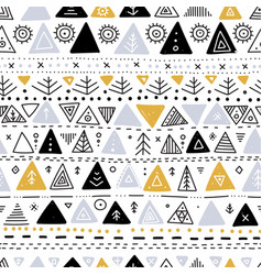 Seamless pattern with ethnic tribal boho triangle vector