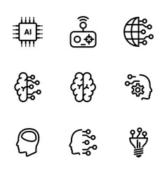 Set simple icons on a theme artificial vector