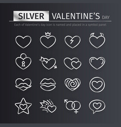 Silver valentines day icons set vector