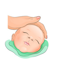 Sleeping baby and hand the mom vector