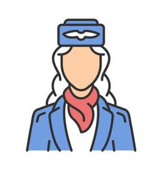 Stewardess color icon vector