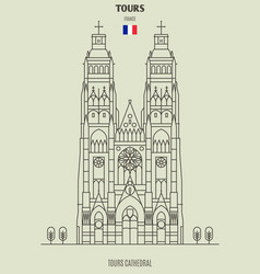 tours cathedral in tours vector image