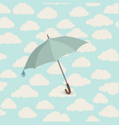 umbrella over seamless cloudy sky pattern spring vector image