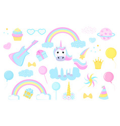 unicorn and clipart set rainbow crown cloud comet vector image