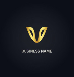 V initial business logo vector