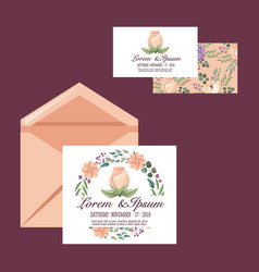 wedding car or invitation flower romantic template vector image