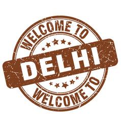 Welcome to delhi brown round vintage stamp vector
