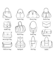 Women fashion handbags collection sketch vector
