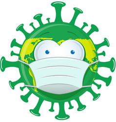 world cartoon wearing maskearth wears health face vector image