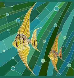 yellow fish in green vector image