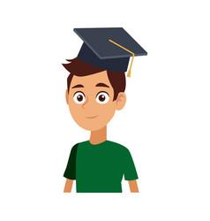 young graduates student in graduation cap vector image