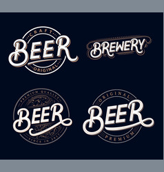beer and brewery hand written lettering logos vector image