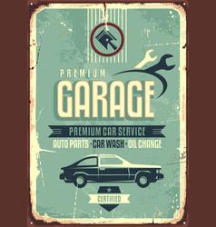 garage vintage tin sign vector image