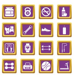 gym icons set purple vector image