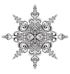 Ornamental black and white snowflake vector image