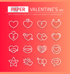 paper valentines day icons set vector image