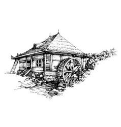 Watermill hand drawn artistic vector image
