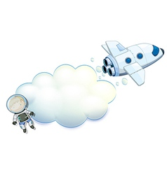 An empty space with a robot and a spaceship vector image