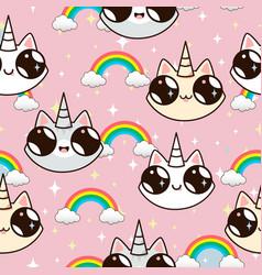 cats unicorns and a rainbow vector image