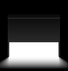 garage door with rolling shutters inside view vector image vector image
