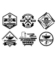 Plumber working logo and force plumbing label vector