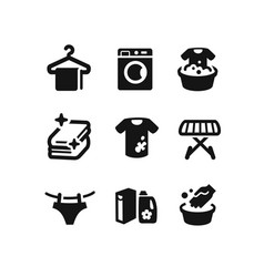 set of laundry icons vector image vector image